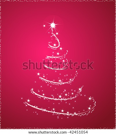 Background with one christmas tree in pink color