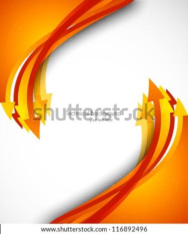Background with orange arrows - stock vector