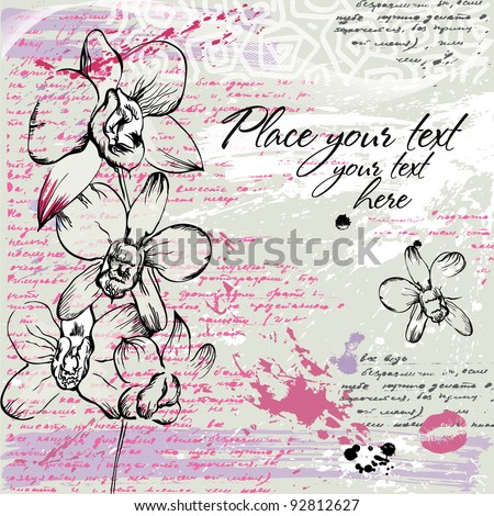 Background with orchids  in watercolor effect in pastel colors - stock vector