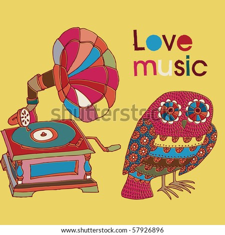 background with owl and gramophone - stock vector