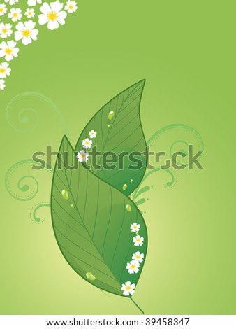background with pair of fresh green leaves and blossoms