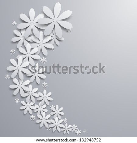 Background with paper flowers - stock vector