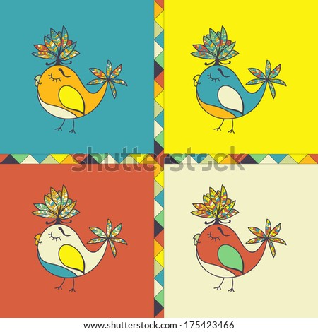 background with parrots,  birds. space for text. can be used as a greeting card