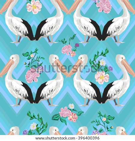 Background with pelicans and flowers, textile design, print fabric. seamless pattern. - stock vector