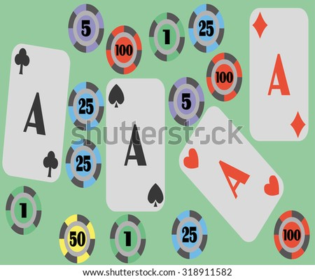 background with poker cards and chips