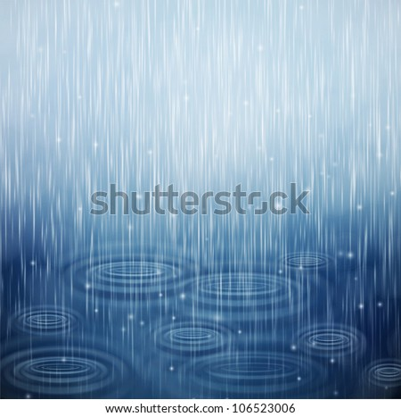 Background with rain and waves on the drops. Eps 10