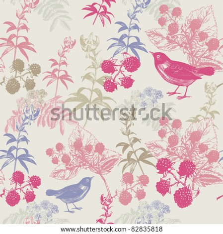 background with raspberry, flowers and birds - stock vector