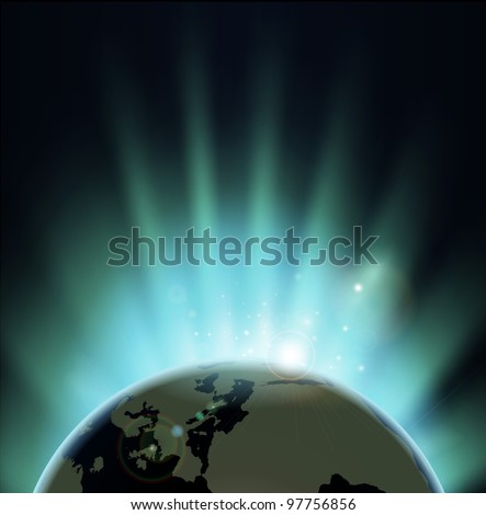 Background with rays of sun rising or setting over the earth. Europe and Africa in front. - stock vector