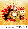 background with rays, roulette and cards from casinos - stock photo