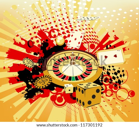 background with rays, roulette and cards from casinos - stock vector