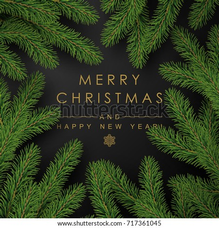background with realistic looking christmas tree branches and season wishes - Real Looking Christmas Tree
