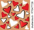 background with red and white hearts - stock vector