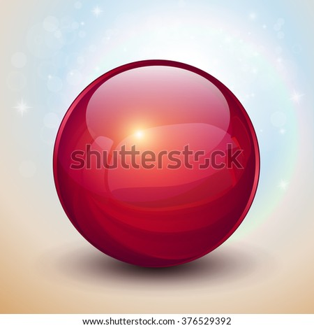 Background with red glass ball, vector sphere. - stock vector