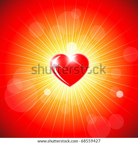 Background with red heart - Valentines decoration