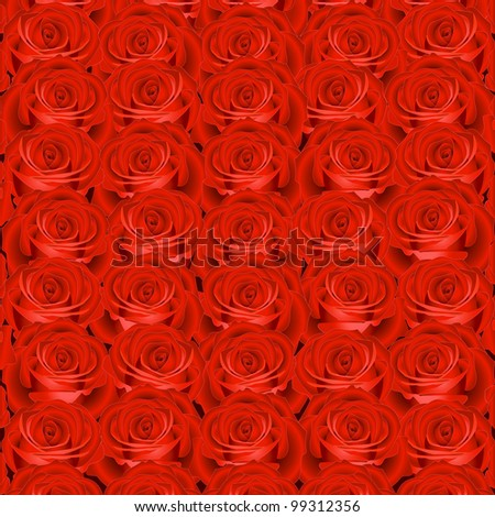 Background with red roses - stock vector