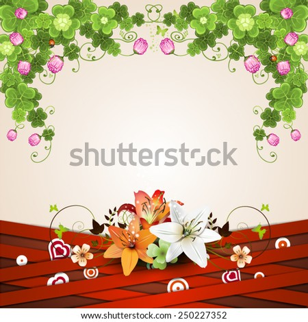 Background with red strips and lilies - stock vector