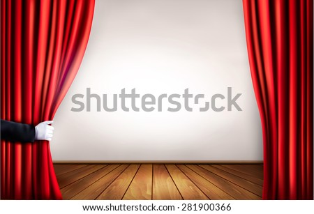 Background with red velvet curtain and hand. Vector illustration. - stock vector