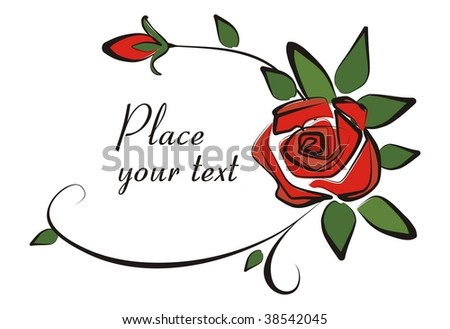 Background with rose - stock vector