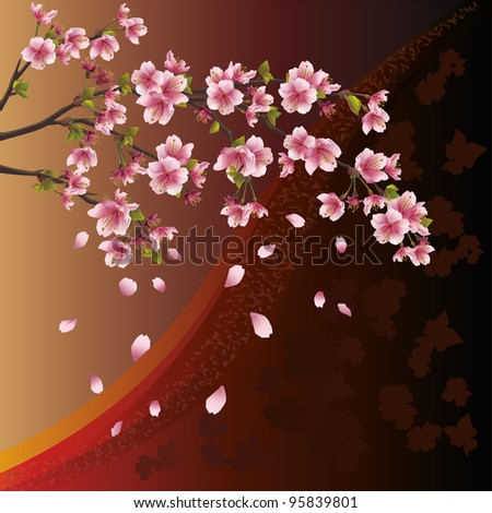 Background with sakura blossom - Japanese cherry tree and pattern - stock vector