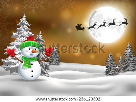 Background with Santa�s sleigh and snowman - stock vector