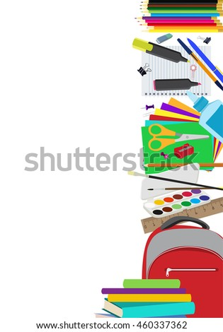 Background with school supplies vertical border. School supplies composition with copy space flat vector background. Objects are cut out with clipping path.