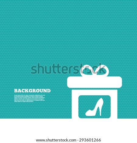 Background with seamless pattern. Gift box sign icon. Present with woman shoes symbol. Triangles green texture. Vector