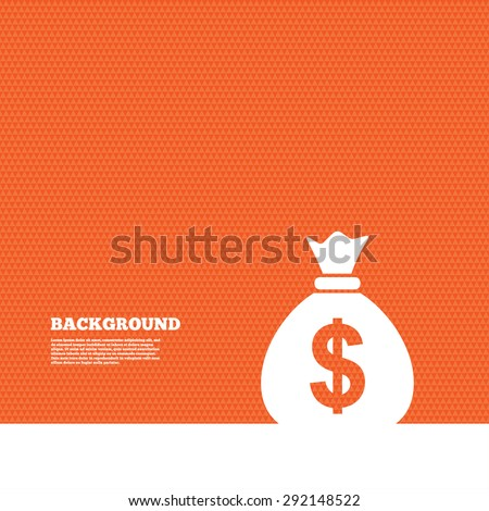 Background with seamless pattern. Money bag sign icon. Dollar USD currency symbol. Triangles orange texture. Vector - stock vector