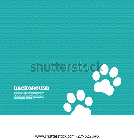 Background with seamless pattern. Paw sign icon. Dog pets steps symbol. Triangles green texture. Vector