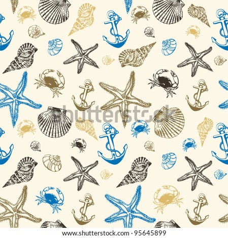 background with seashells - stock vector