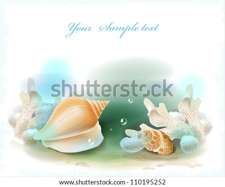 background with seashells and corals - stock vector