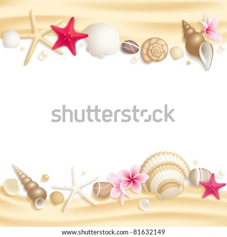 Background with seashells and starfishes making a frame for any text - stock vector