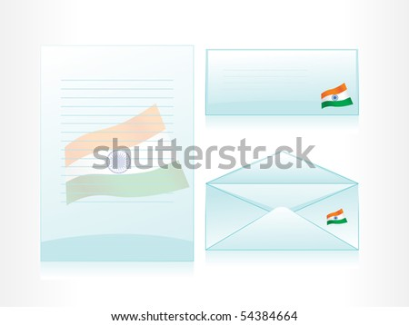 background with set of seagreen letterhead, envelop and postcard - stock vector
