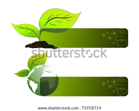 background with set of two ecology header, vector illustration - stock vector