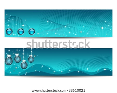 background with set of two new year header - stock vector