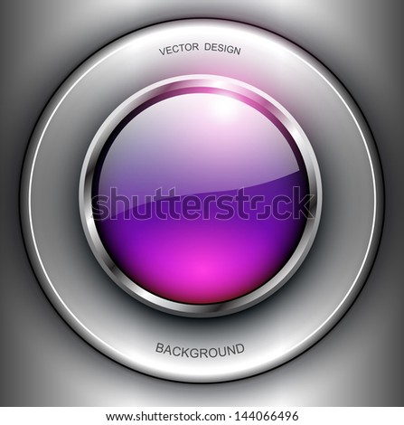 Background with shiny button and metallic elements, vector design. - stock vector