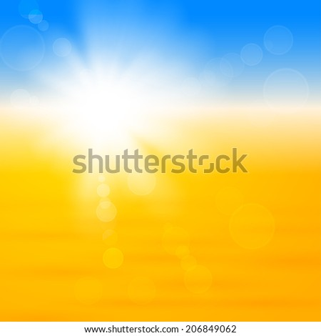 Background with shiny sun with flares over the sand - stock vector