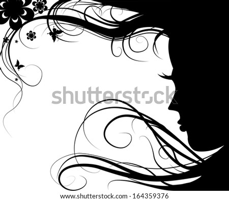 Background with silhouette beautiful girl with beautiful flowers and butterflies vector and flying hair on white background - stock vector