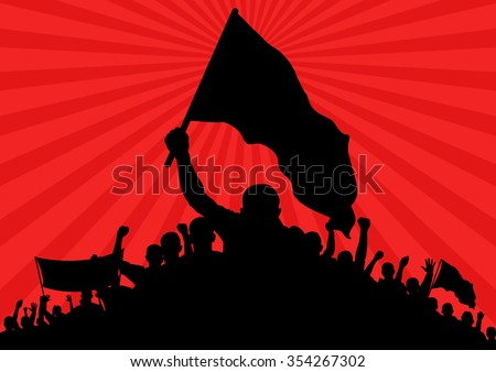 background with silhouette of protesters with flags and banner - stock vector