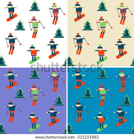 background with skiers - stock vector