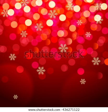 Background with snowflakes and bokeh lights on red background. - stock vector