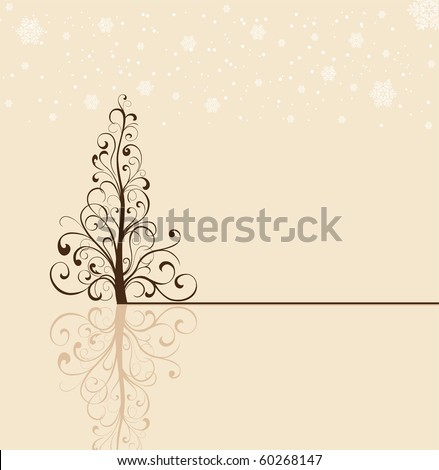 Background with snowflakes and Christmas tree from ornate elements, illustration - stock vector