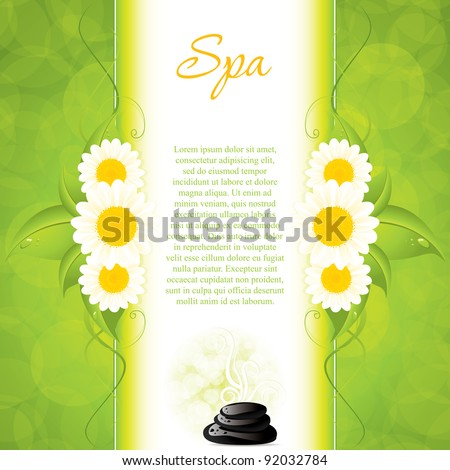 Background with spa stones and white flowers - stock vector