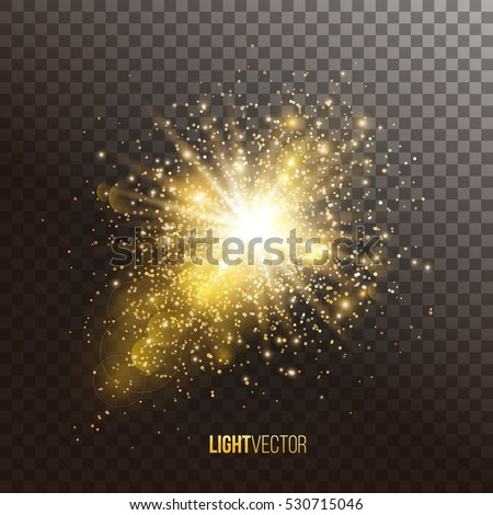 Background with sparkles and glitter , glow light effect. Vector illustration.