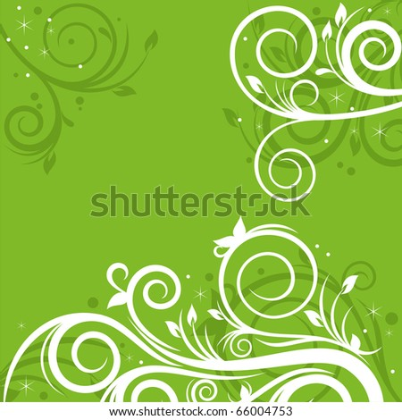 Background with spring ornament in green colors - stock vector