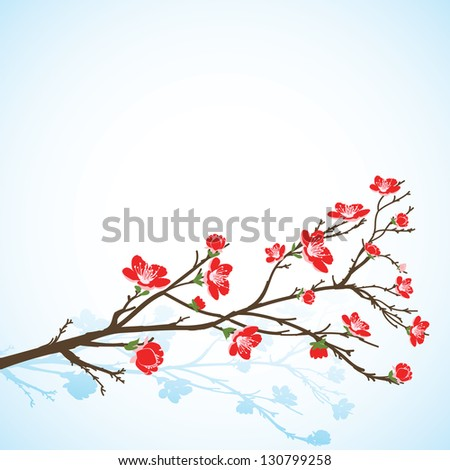 Background with spring tree red flowers