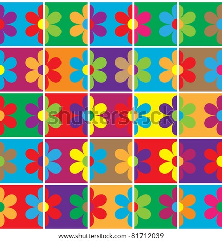 Background with squares and flowers different colors - stock vector