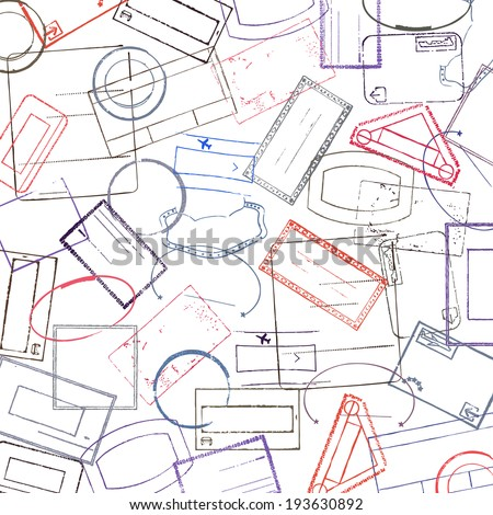 Background with stamps - stock vector