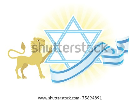 Background with Star of David and Jerusalem lion - stock vector
