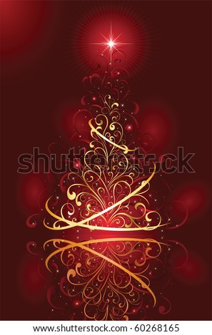 Background with stars and Christmas tree from ornate elements, illustration - stock vector