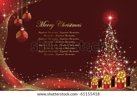 Background with stars and Christmas tree from ornate elements, illustration